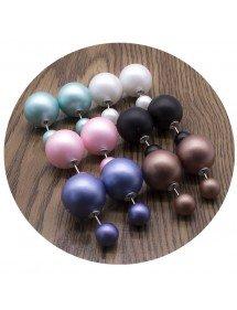 Multicolours - Lot of Double Balls Earrings - Matt - 6 pieces