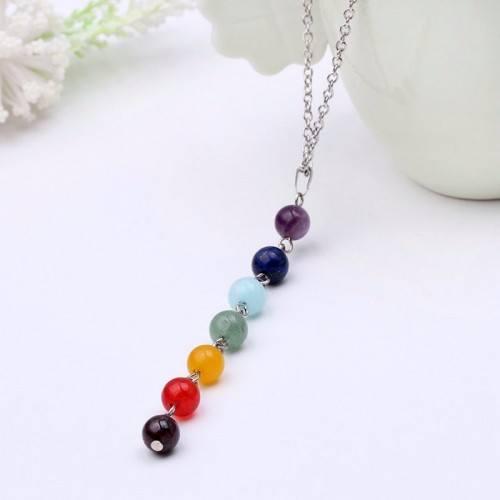 Halskette - Heilung der 7 Chakra - Steine, Natur - Multicolor-2