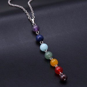 Collana Di Guarigione 7 Chakra Naturale Pietre - Multicolore 3