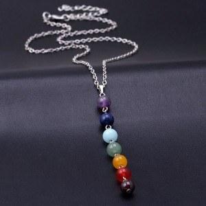 Колие - Изцеление 7 Чакра - Естествени Камъни - Многоцветен 4