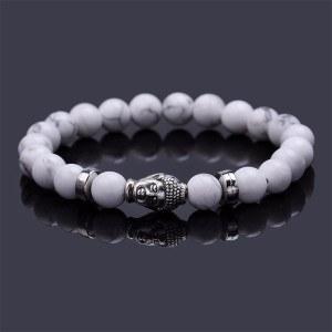 Bracelet - Buddha - White/Silver