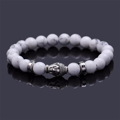 Bracelet - Bouddha - Blanc/Argent