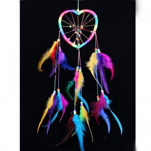 Attrape Rêve - Coeur - Arc-En-Ciel - Multicolore