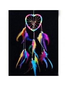 Apanhador de sonhos - coração - arco-íris - multicolor