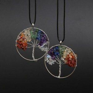 Колие Дърво на живота Изцеление 7 Чакра Естествени камъни Многоцветни 2
