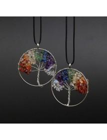 Halsband Livets träd helande 7 chakra naturstenar mångfärgade 2