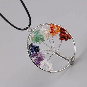 Necklace Tree of Life Healing 7 Chakra Natural Gemstones multi-colored