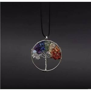 Halskette Lebensbaum Heilung 7 Chakra Natursteine Bunt 3