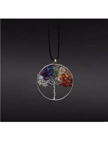 Halsband Livets träd helande 7 chakra naturstenar mångfärgade 3