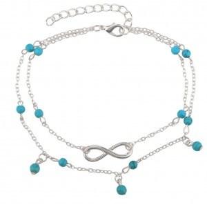 Knöchelkette - Infinity und blaue Perlen - Silber / Blau 4