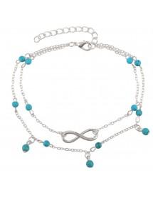 Ankelkedja - Infinity och blå pärlor - Silver / Blå 4