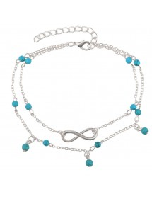 Верига на глезена - безкрайност и сини мъниста - сребро / синьо 4