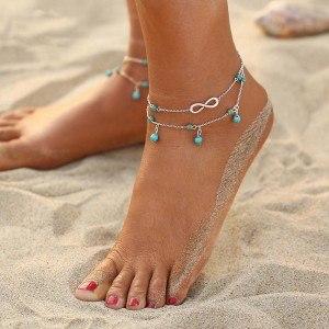 Knöchelkette - Infinity und blaue Perlen - Silber / Blau 3