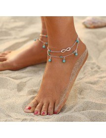 Chain of Ankle - Infinite and Blue Beads - Silver/Blue 3