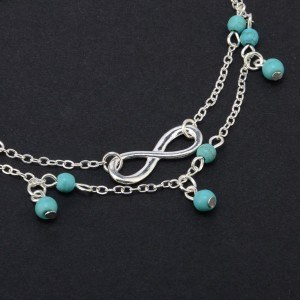 Ankelkedja - Infinity och blå pärlor - Silver / Blå 2