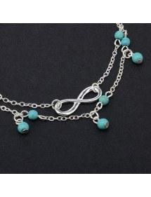 Knöchelkette - Infinity und blaue Perlen - Silber / Blau 2