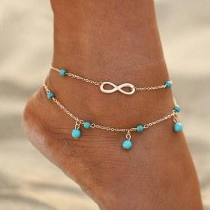 Ankelkedja - Infinity och blå pärlor - Silver / Blå