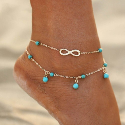Chain of Ankle - Infinity and Blue Beads - Silver / Blue