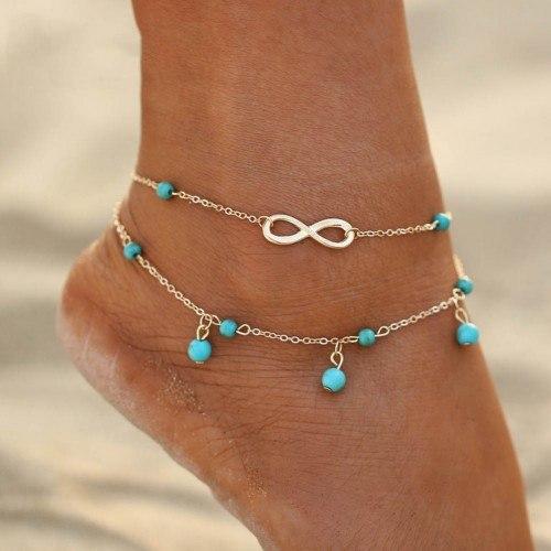 Knöchelkette - Infinity und blaue Perlen - Silber / Blau