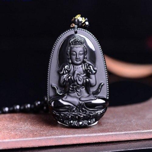 Necklace Amulet - Buddha - Premium - Obsidian - Black