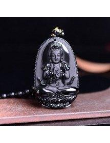 Collar Amuleto De Buda - Premium - Obsidiana - Negro