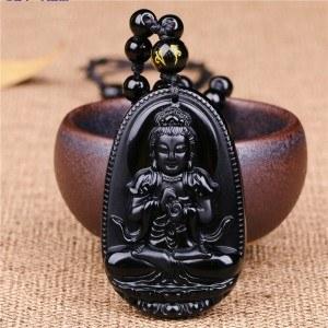 Collar Amuleto De Buda - Premium - Obsidiana - Negro-3