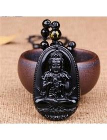 Collana Amuleto - Buddha - Premium - Obsidian - Nero-3
