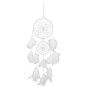 Lapač snů - tradiční - 2 kruhy - bílý 3