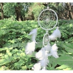 Ловец на сънища - Традиционен - 2 кръга - Бял 2
