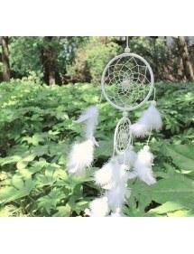 Lapač snů - tradiční - 2 kruhy - bílý 2