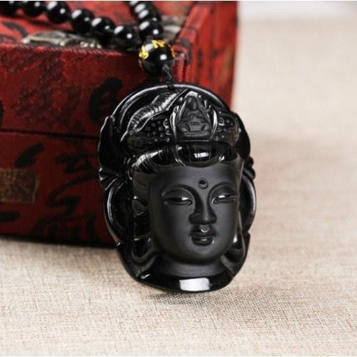 Collier - Bouddha - Design - Moderne - Obsidienne - Noir