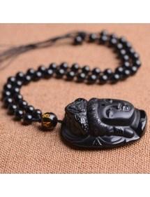 Collier - Bouddha - Design - Moderne - Obsidienne - Noir 3