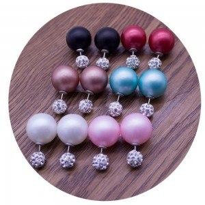 Boucles D'Oreilles - Double Boule Mat et Diamants - Lot de 6 - Multicolore