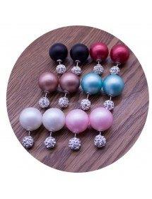 Earrings - Double Ball and Matte Diamond - set of 6 - Multicolor