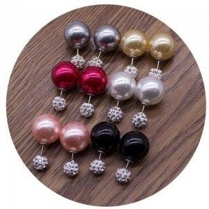 Boucles D'Oreilles - Double Boule Brillantes et Diamants - Lot de 6 - Multicolore