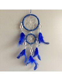 Attrape Rêve - Traditionnel - 2 Cercles - V3 - Bleu Foncée