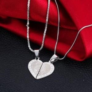 Premium Halsband - Jag älskar dig - Kärlekspar - Hjärtan - Silver