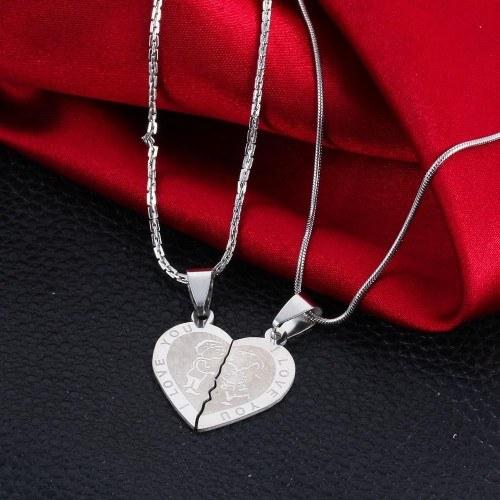 Prémiový náhrdelník - Miluji tě - Milující pár - Srdce - Stříbro