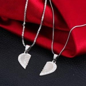 Premium Necklace - I Love You - Couple Love - Hearts - Silver 2