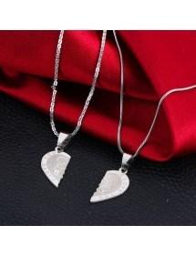 Premium Halsband - Jag älskar dig - Par kärlek - Hjärtan - Silver 2