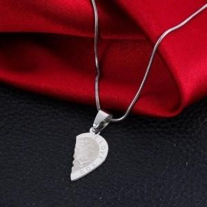 Premium halsband - Jag älskar dig - Par kärlek - Hjärtan - Silver 3