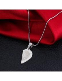 Colar Premium - Eu te amo - amor de casal - corações - prata 3