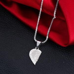 Colar Premium - Eu te amo - amor de casal - corações - prata 4