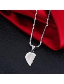 Premium halsband - Jag älskar dig - Par kärlek - Hjärtan - Silver 4