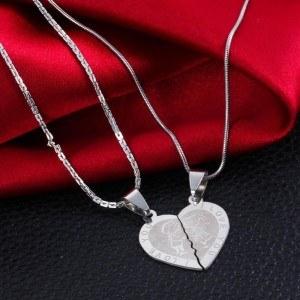 Premium Necklace - I Love You - Love Couple - Hearts - Silver 5