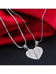 Premium Halsband - Jag älskar dig - Kärlekspar - Hjärtan - Silver 5