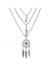 Necklace - Dreamcatcher - Multi-Row - Silver/Blue