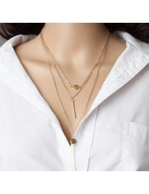 Necklace - Multi-Row - Is - Golden-3