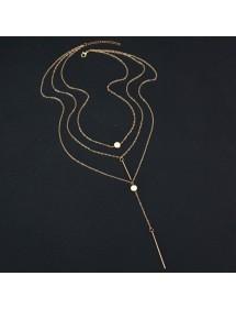 Collier - Multi Rangs - Y - Doré 6