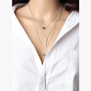 Necklace - Multi-Row - Y - Silver